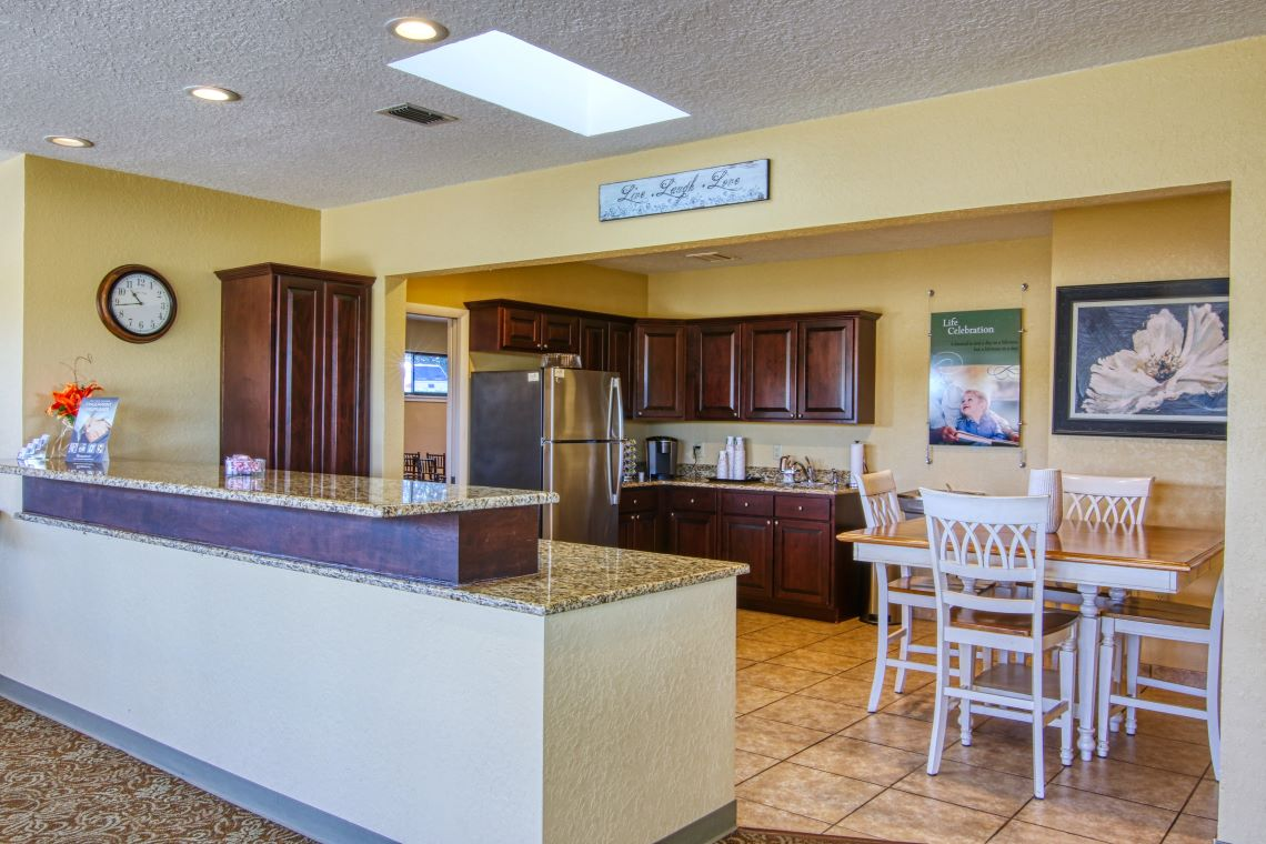 Tavares funeral home kitchen area