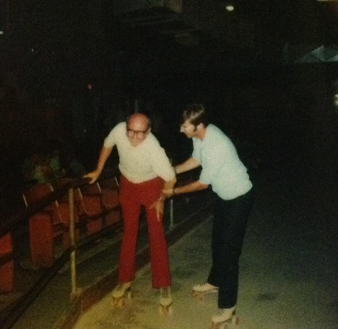 Tom clowning around at the roller skating rink!