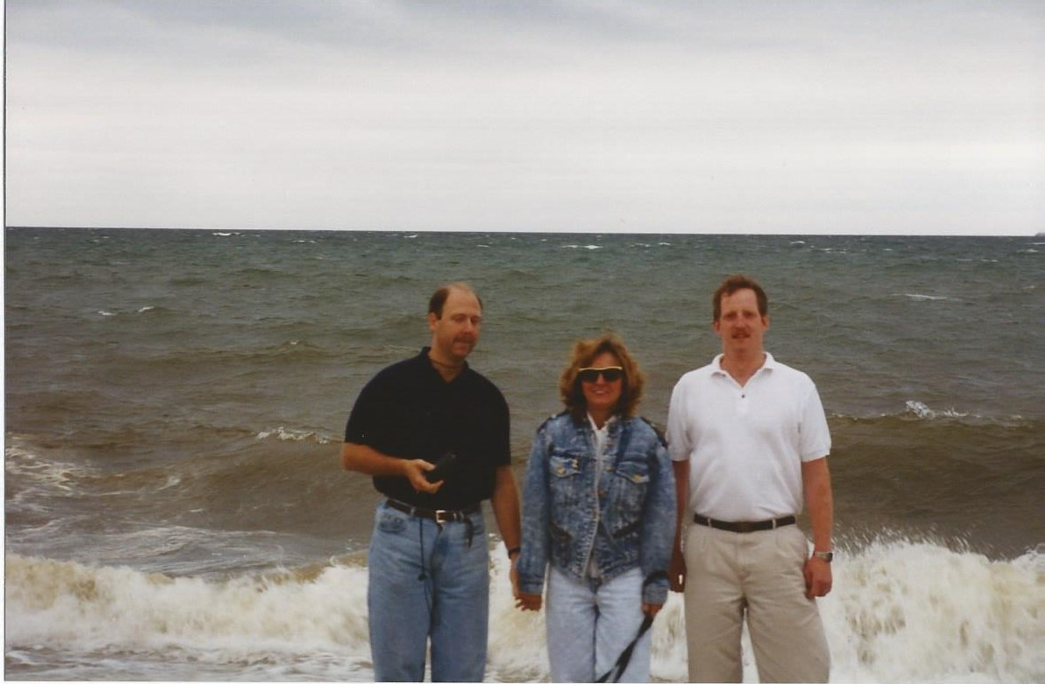 Sheila with Scot and Rick at a rented beach home Cape Cod MA.