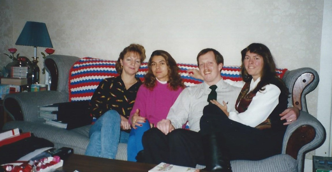 Sheila, Nancy, Rick and me at my tiny apartment in Abington. Note the 2 red roses. Sheila always brought flowers to everyone when she visited. Sheila loved flowers and wanted everyone to feel special.