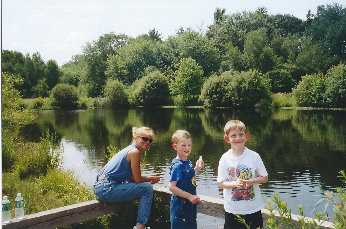 Sheila with Ricky and Paul at the VA Residential Hospital in Brockton MA. The grounds were breathtaking complete with a fishing pond and playground.