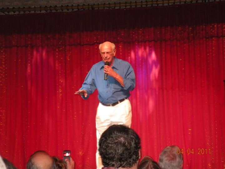 Bob doing his stand-up comedy show.