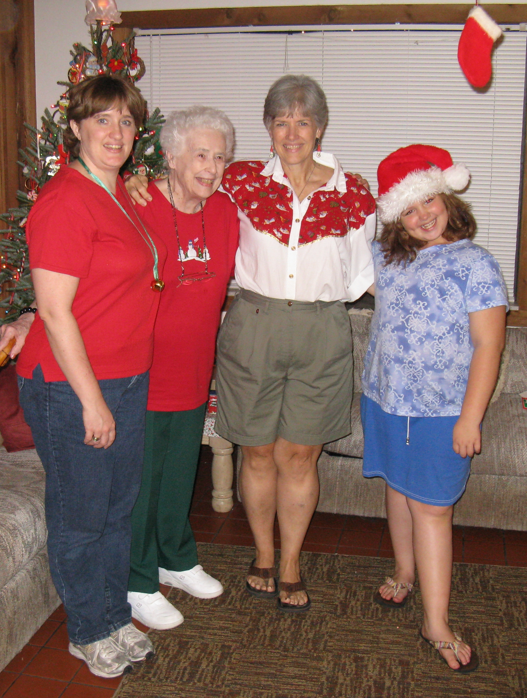 Four Generations; Left to Right; granddaughter, Jennifer, Lois, daughter, Janet and great-granddaughter, Alyssa