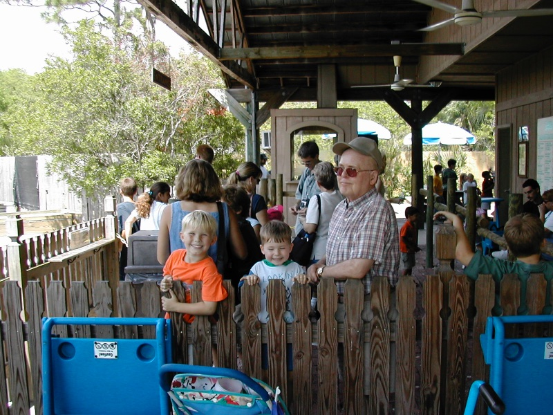 Grandpa waiting in line for the train at the Brevard County Zoo with three of his great grandchildren.    Miss and love you Grandpa!