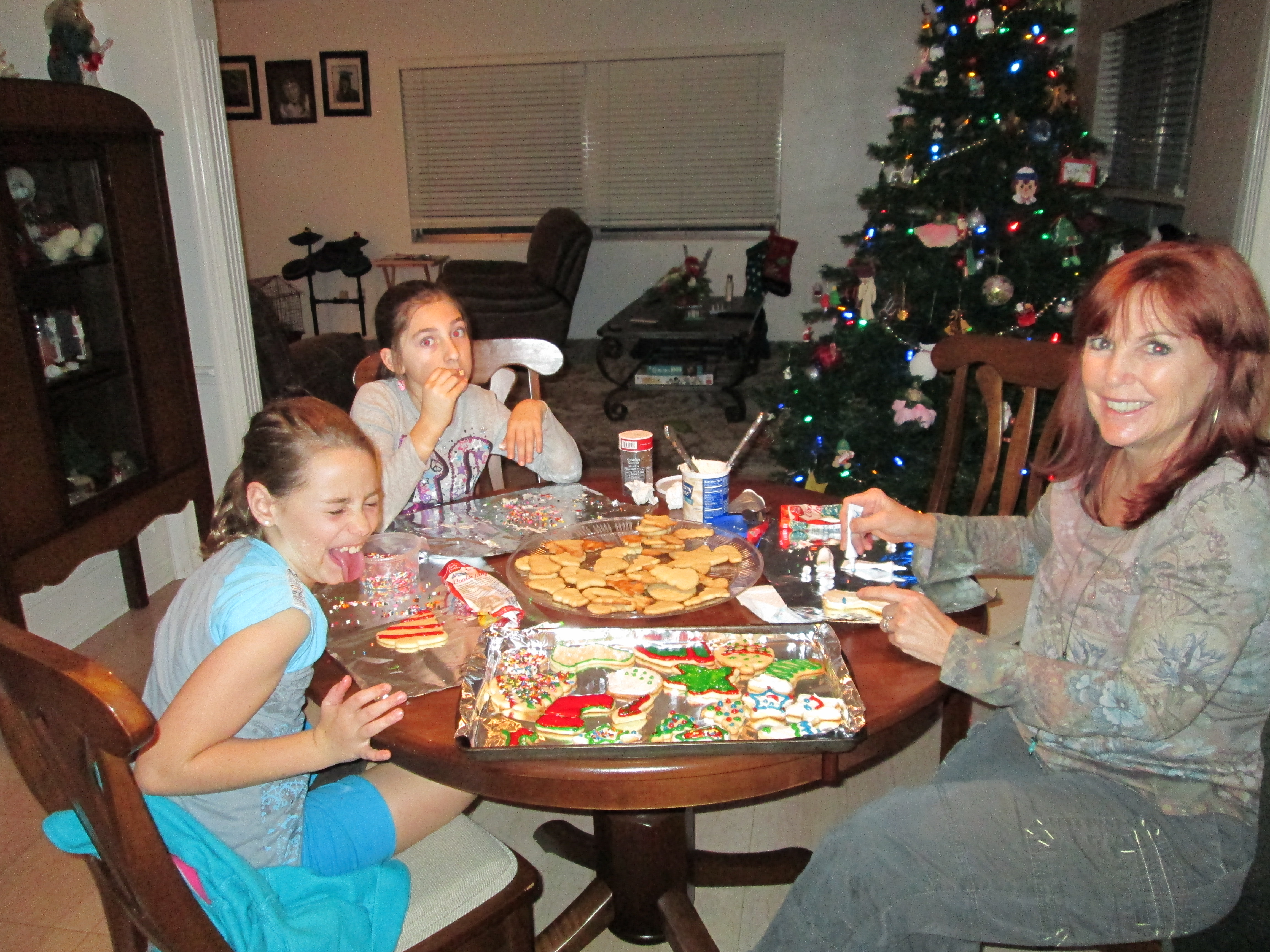 Decorating Christmas cookies with our girls.