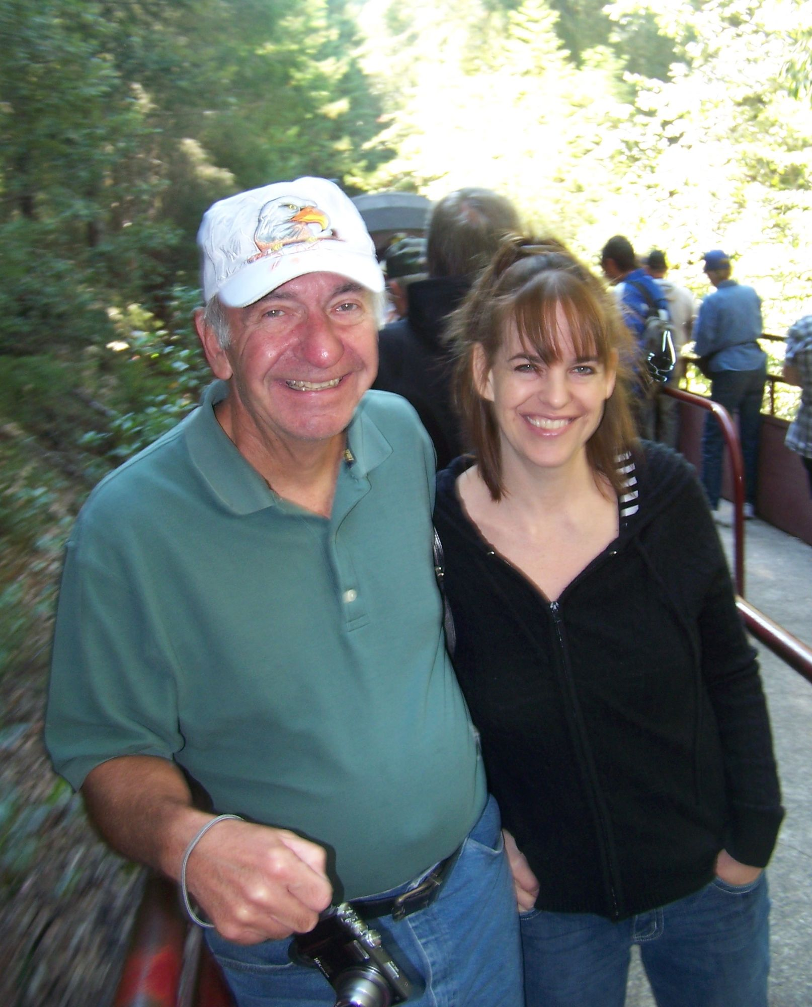 All aboard, the Mendocino skunk train Aug 22, 2014. Dad and Janine.