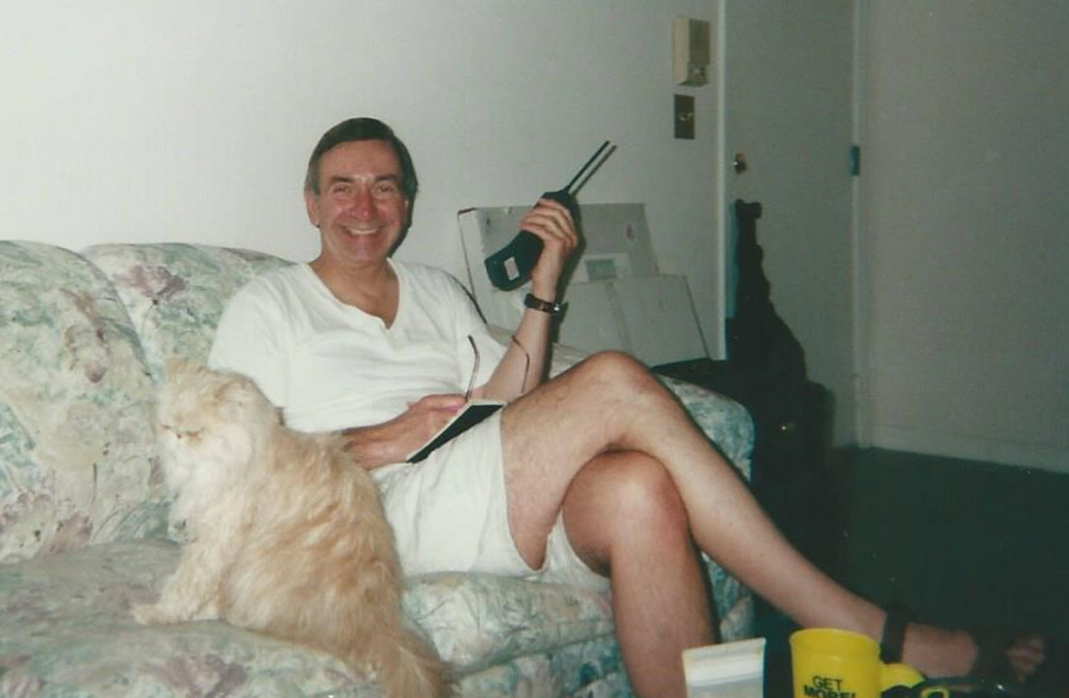 This is dad visiting me in my first home (a condo) circa 2000-2001.  Chewie (who passed away about three years ago) is sitting beside him.
