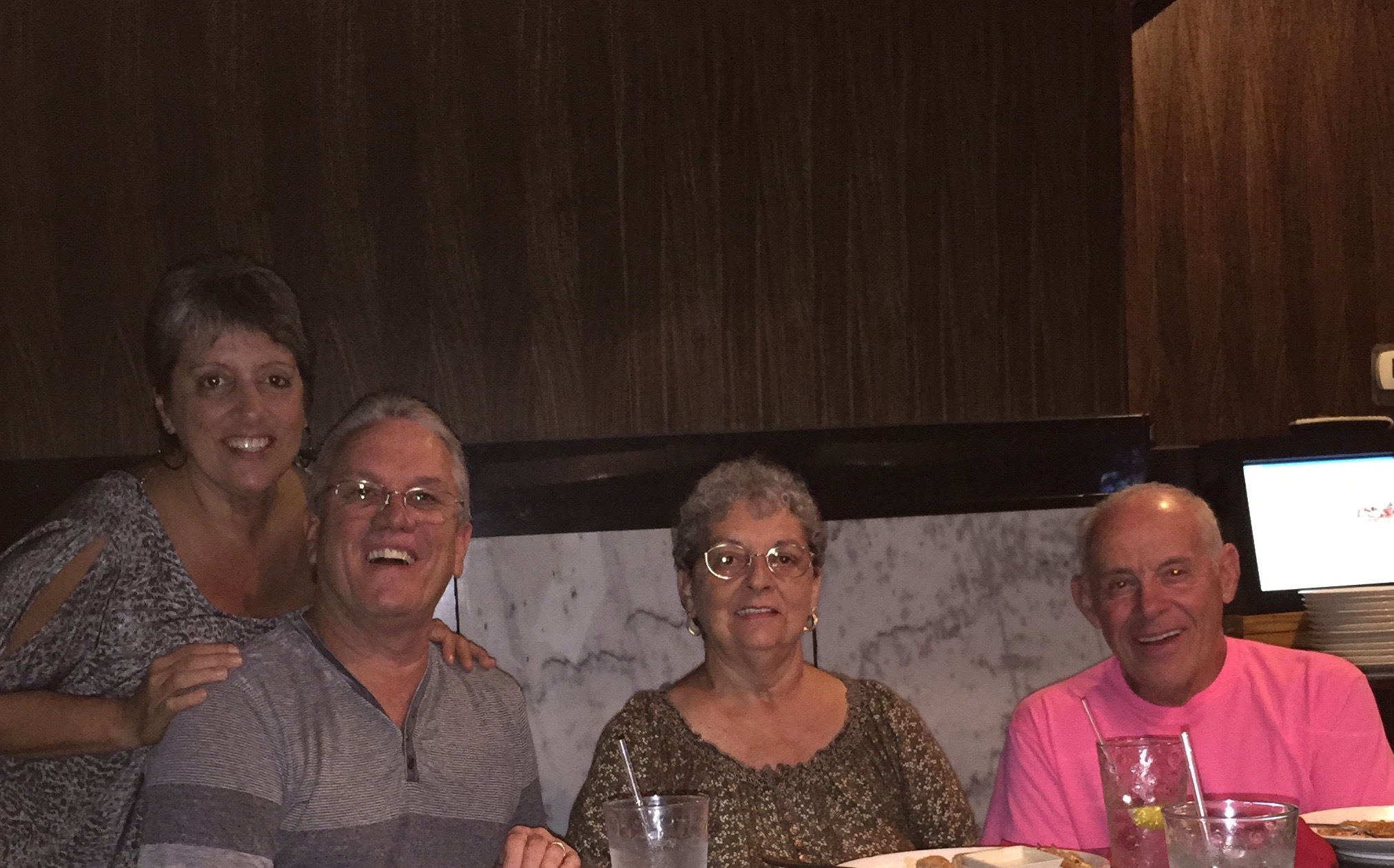 Enjoying dinner out together! Miss you, Mom!!!