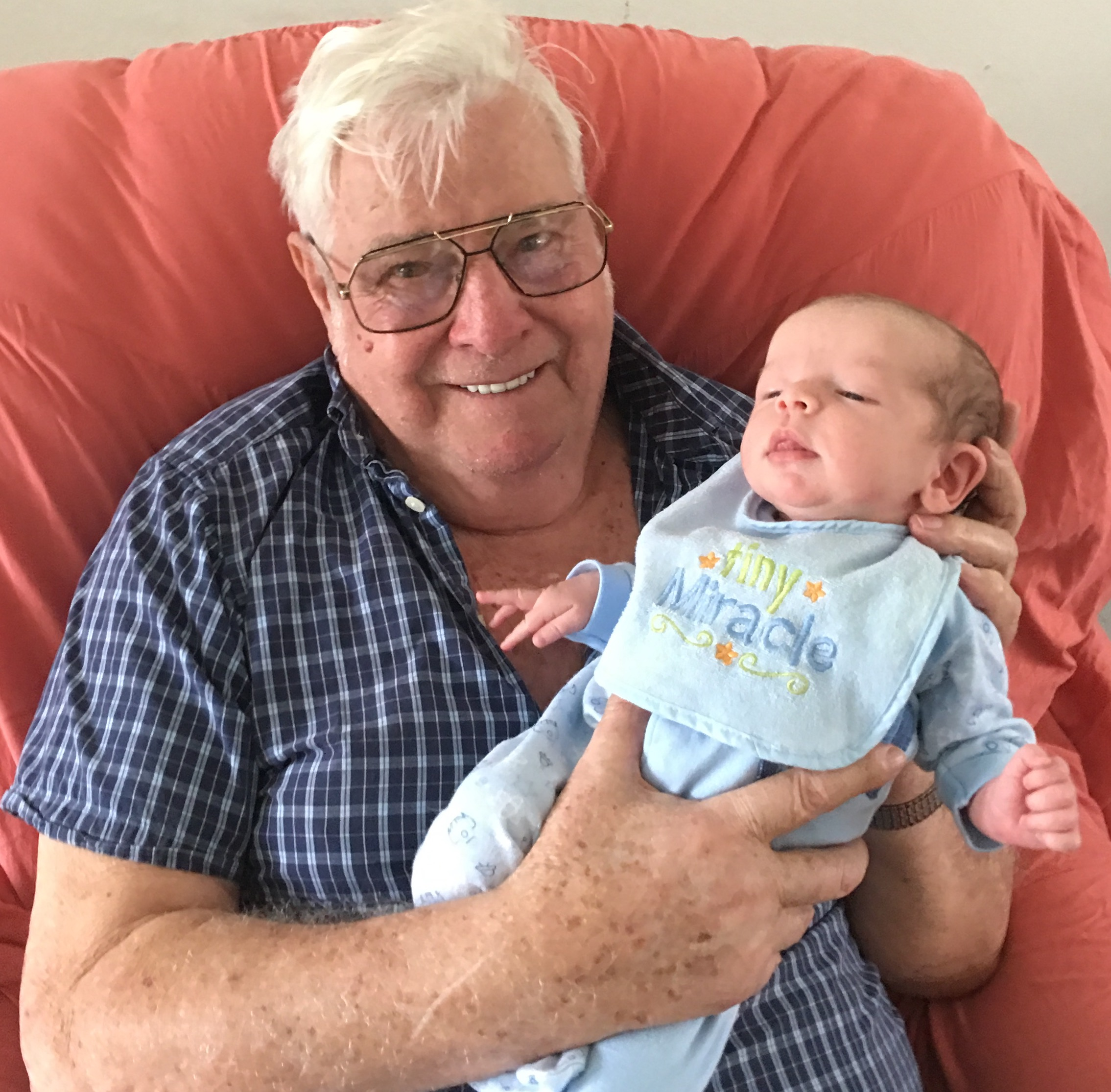 Harvey with his great grandson Jaxson.