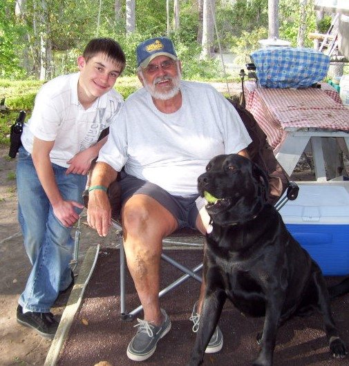 Dad, Jacob and Bear.  I'm pretty sure the two in this photo was two of my Dad's favorites.  This photo was actually cropped for his profile Facebook photo.  Taken in April of 2010.