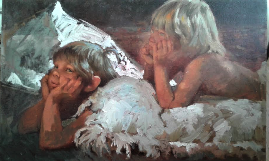Painting of Shawn and Nathan created by their grandfather Mauro Scali