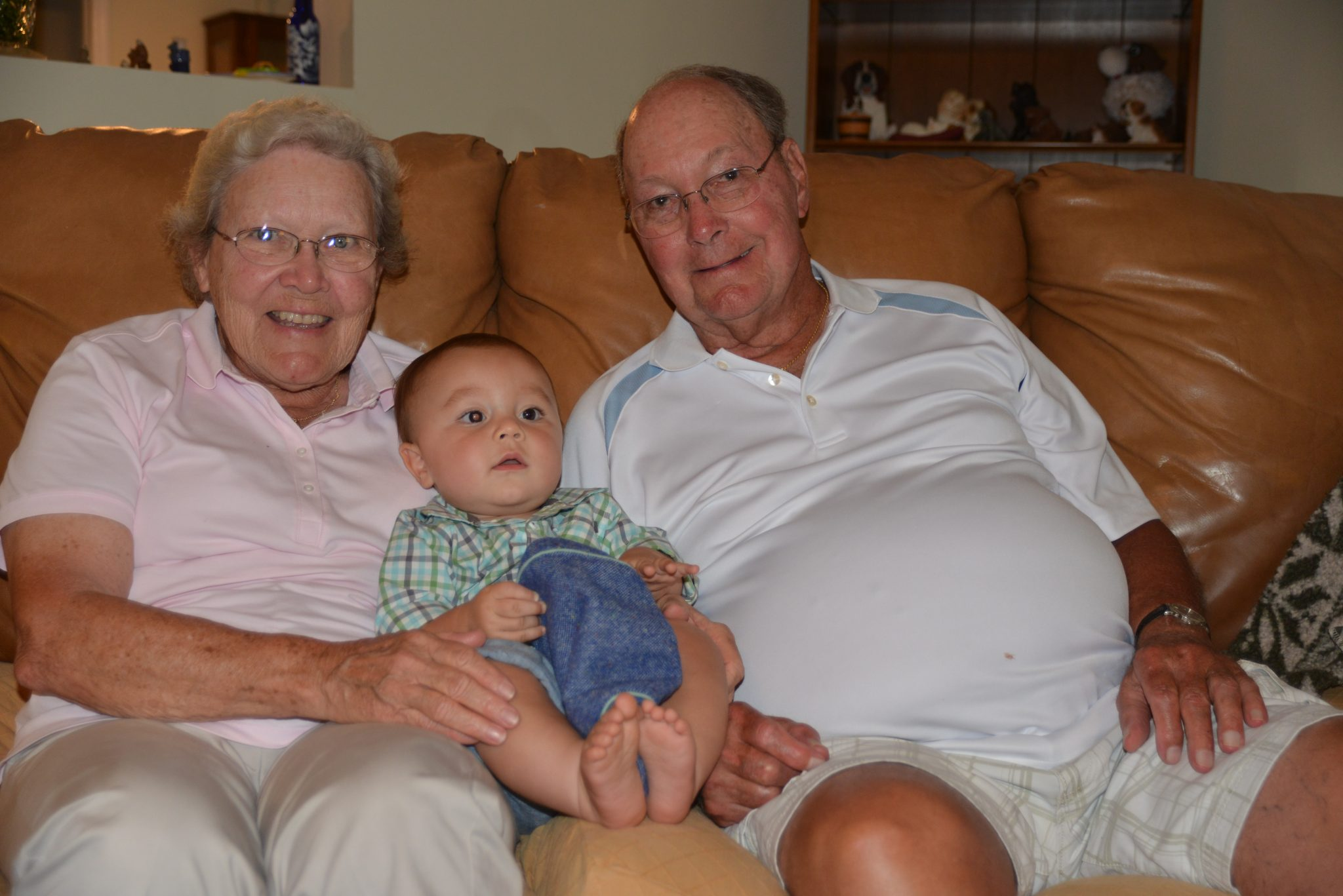 Gramps and Grandma with Great-Grandson, Lucas on his first birthday.