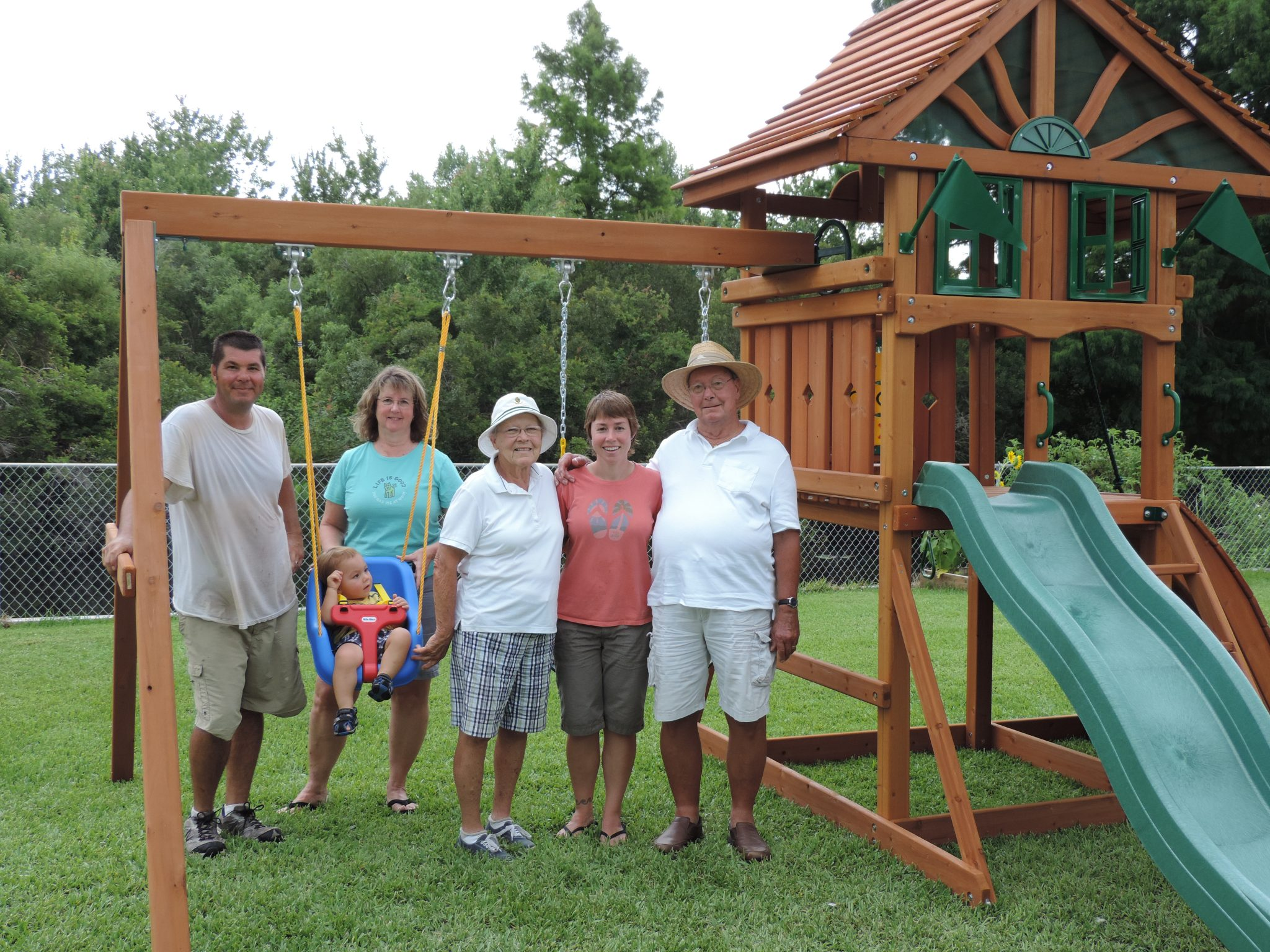 Grandma, along with her husband Chuck, daughter Linda, granddaughter Kelly, her husband John and great-grandson Lucas.