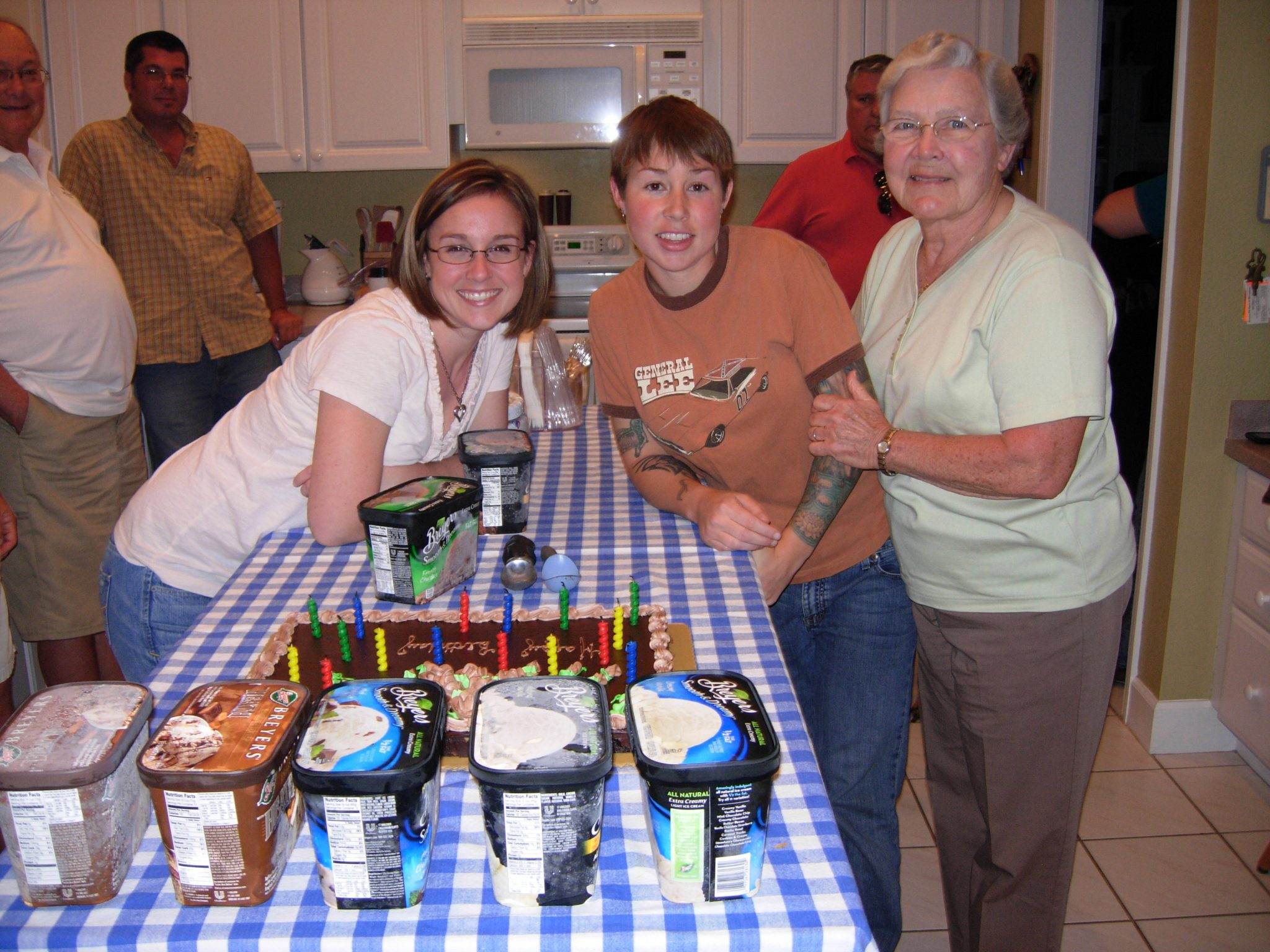 Grandma celebrating her 80th birthday, along with her granddaughters, Carrie and Kelly.