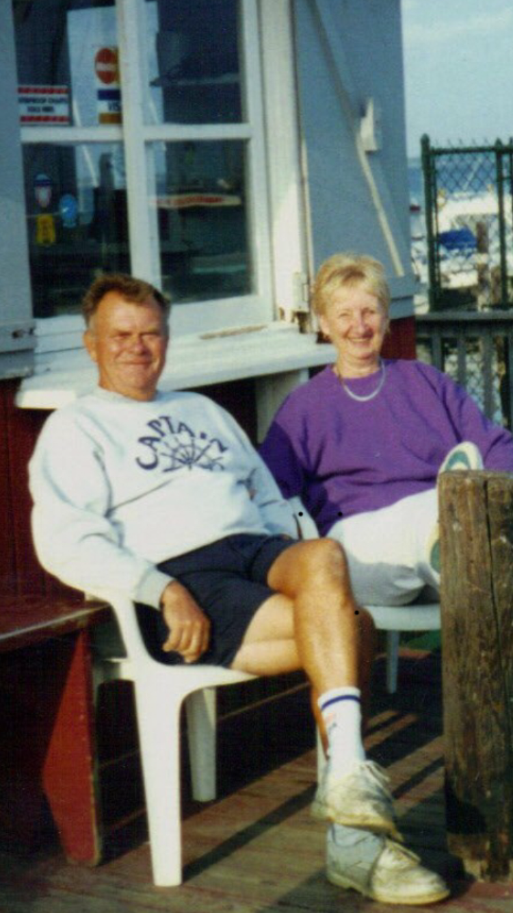 Capt Earl and Shirley aka: my mom an dad relaxing at the old Wheelhouse Marina.