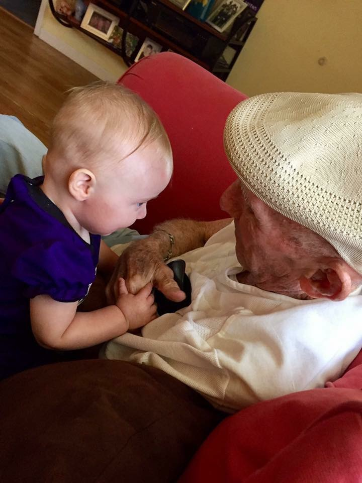 So happy that little Katie got to meet her great grandfather and have moments like this one . Love you Pop.