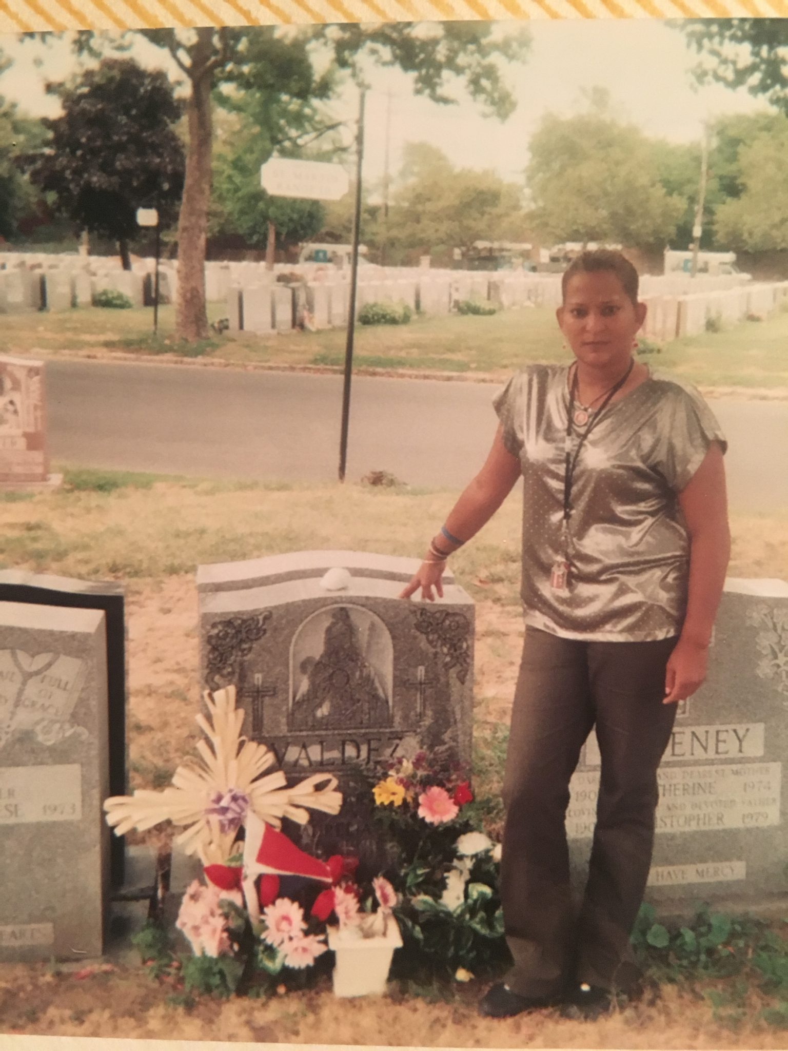 My Mother Evelyn Cruz Valdez at my grandma semetary.