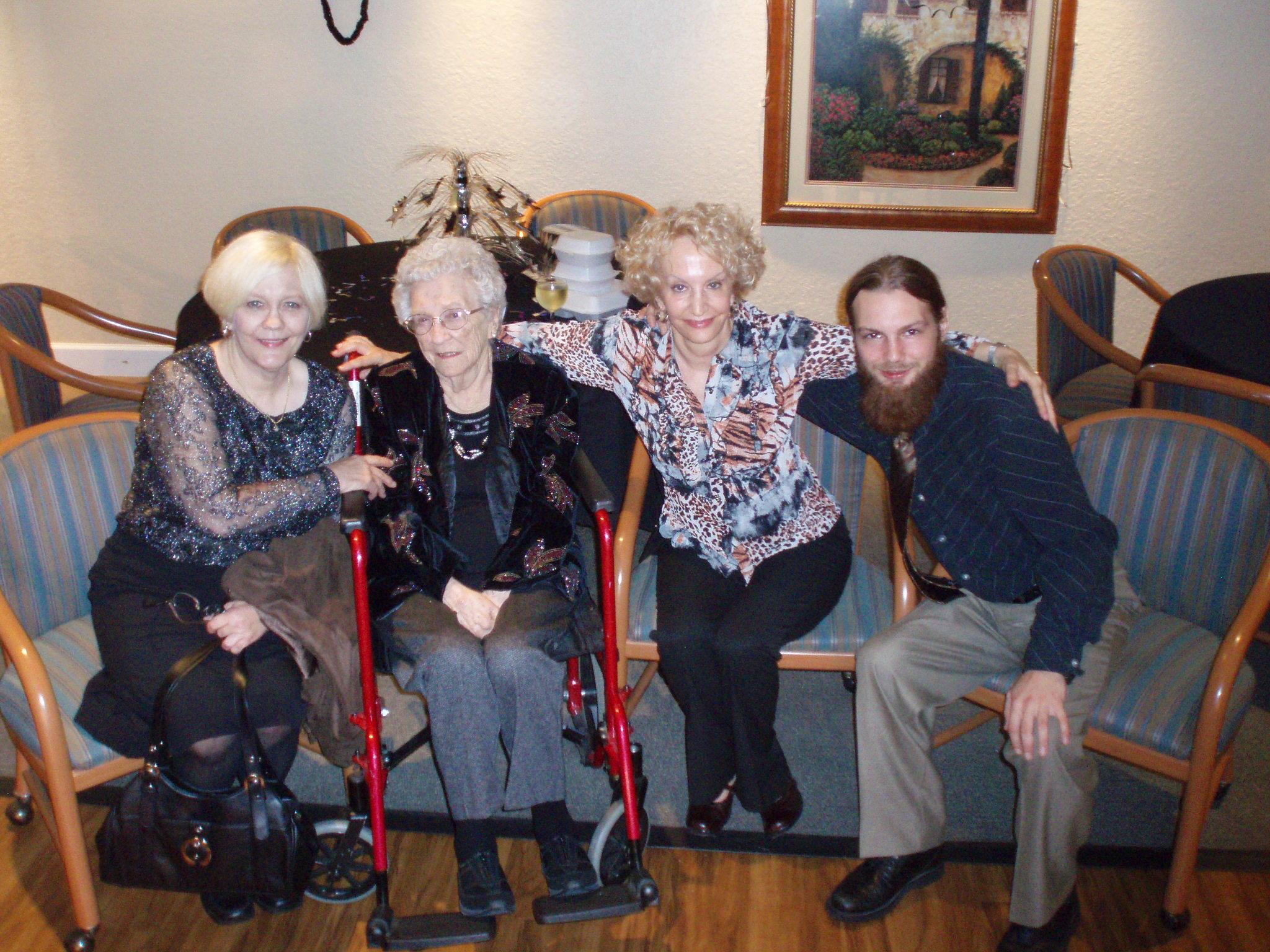 Sue, Mark, Laura, Nana on New Year's Eve