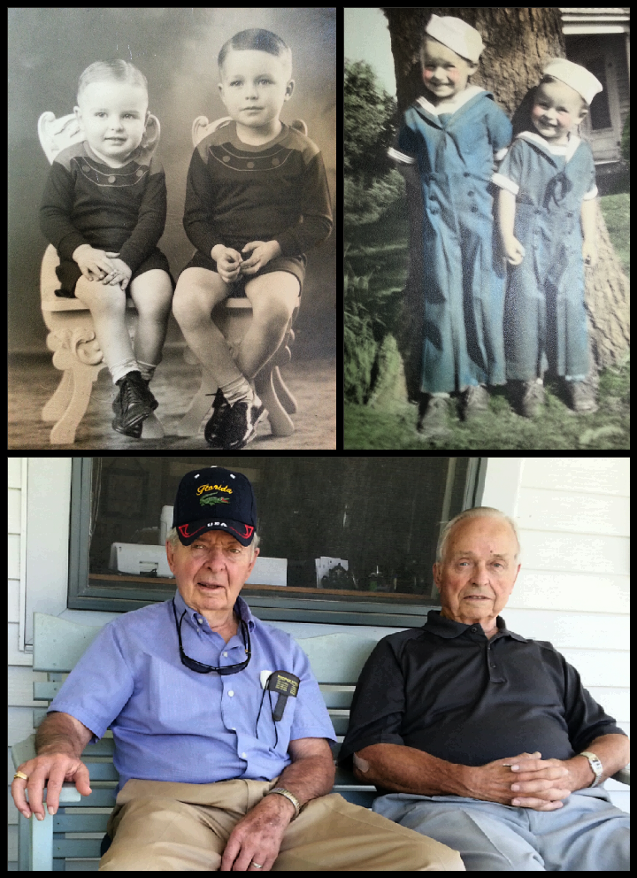 Collage of early pictures of my Uncle Don with my father, and a snap taken on my front porch the last time I was blessed to spend time with my wonderful uncle.