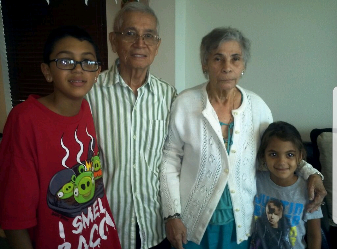 Grandma and Grandpa with their great grandkids, Angel and Iliana. So special. You will be missed grandma.