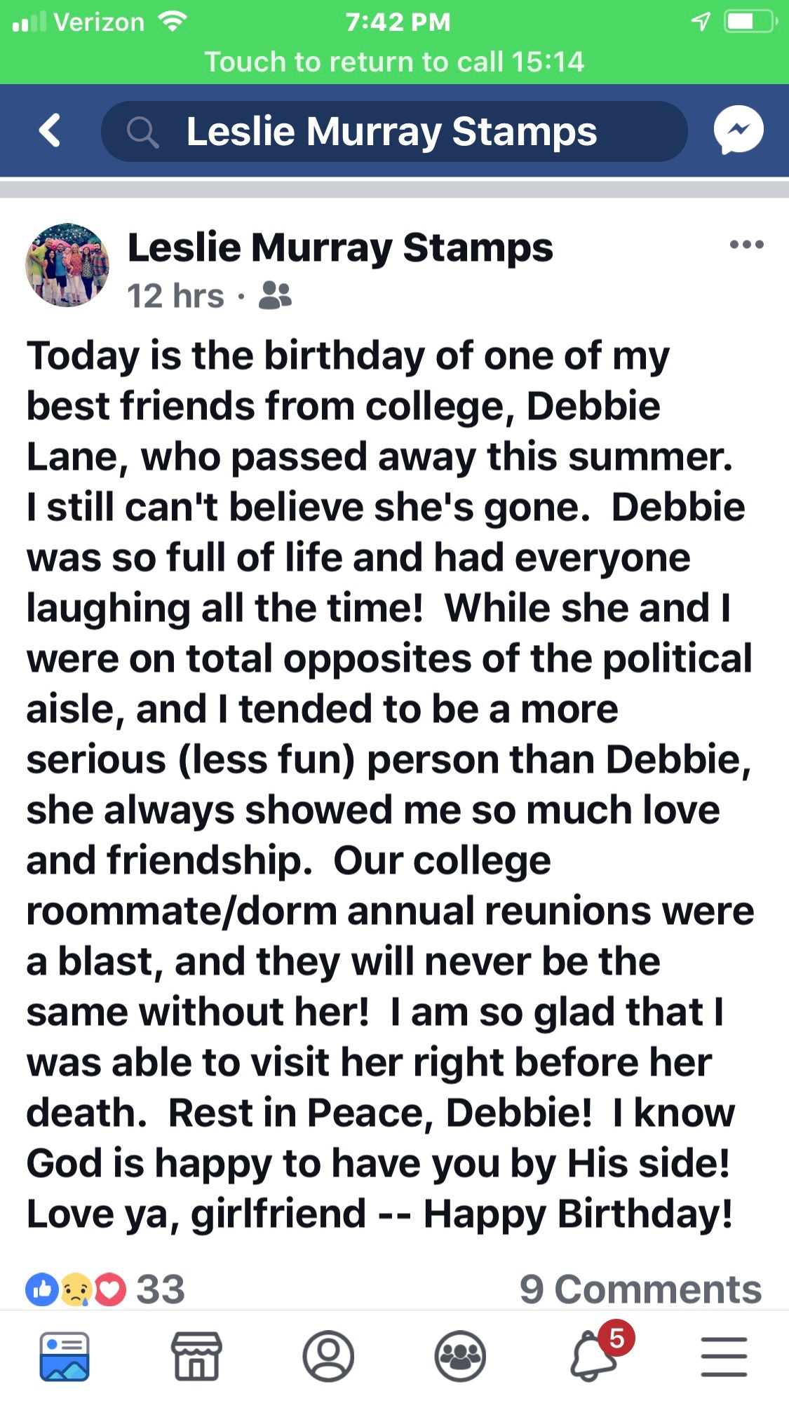 Posted on Facebook by Leslie Stamps