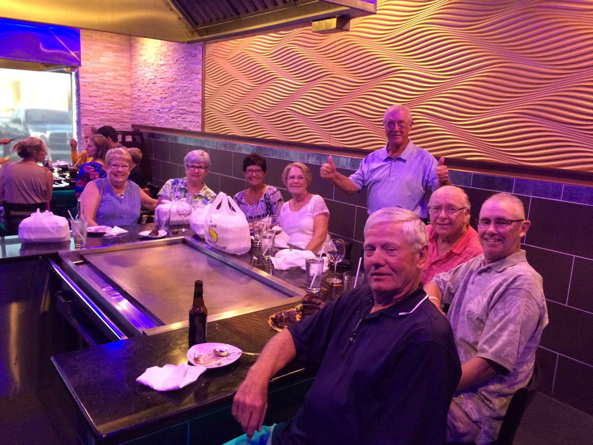 Enjoying an evening at Edo's Japanese Steakhouse.  What a handsome group!