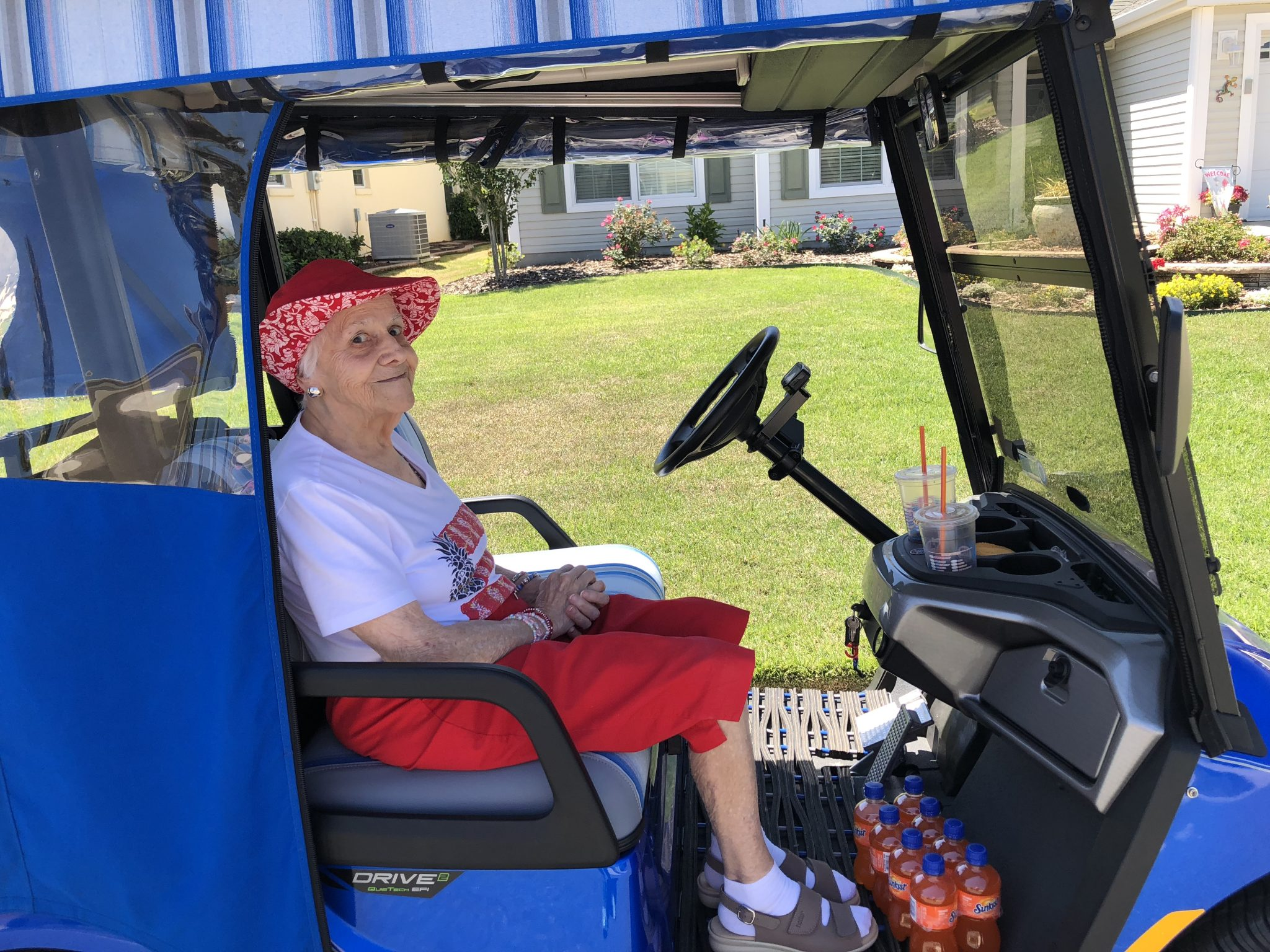 Alice loved riding in the golf cart