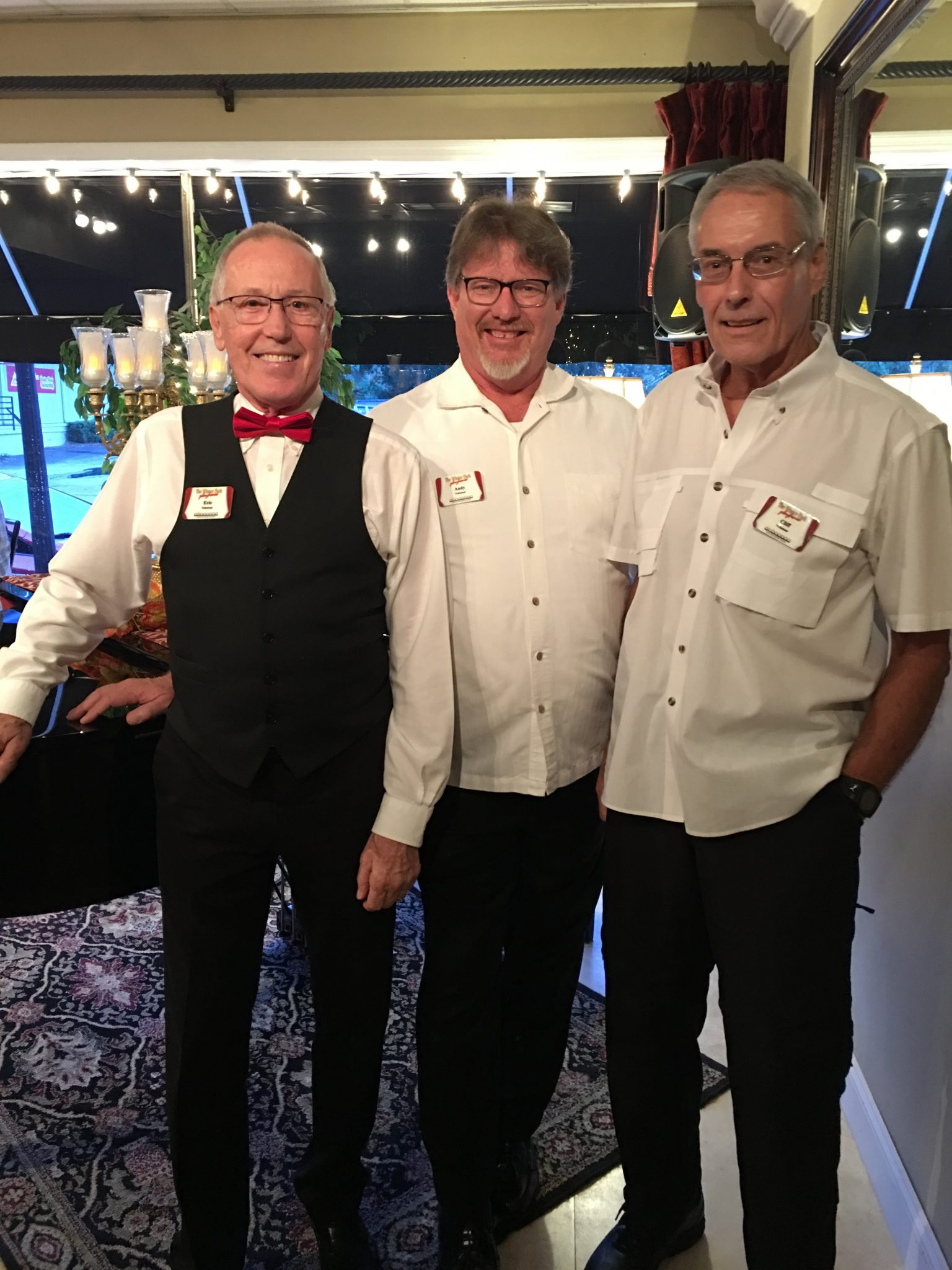 Winter Park Playhouse usher friends (lft to rt) Eric Steckel, Andy Peck and Cliff Crook
