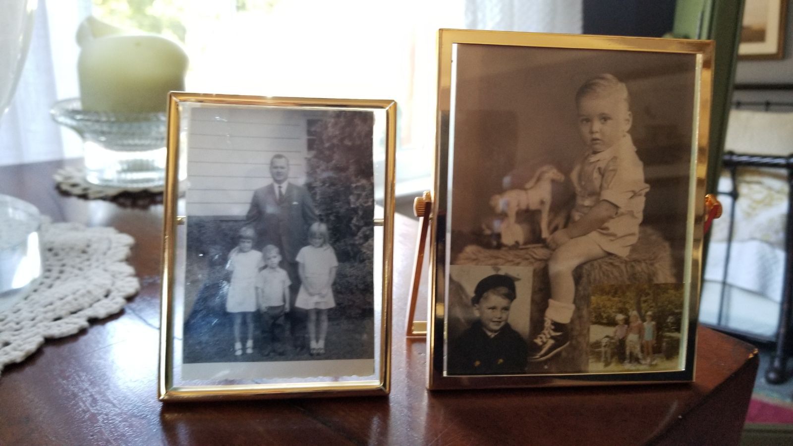 Dad at age 2 and with Lisa, Christy, Todd