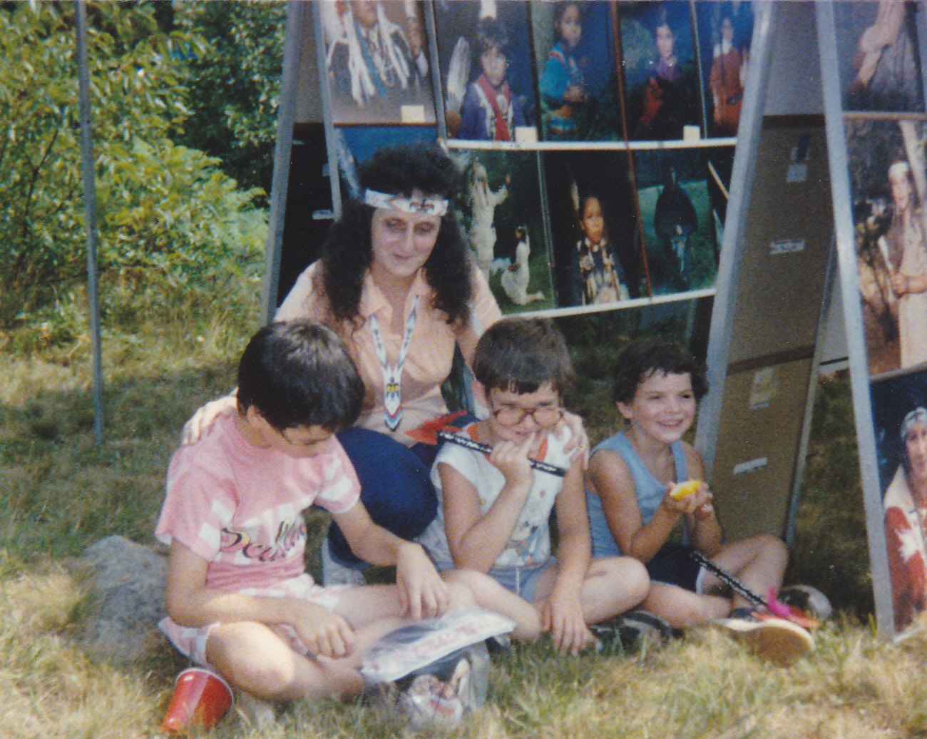 Mom with Steven, Sonny, and Anthony at the Pow-Wow