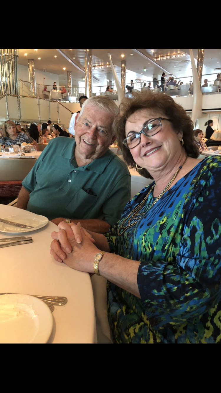 A picture of Ted and Katie taken on Ted's 85th birthday cruise, taken by their tablemates. We could not believe how youthful he appeared. He and Katie were delightful. We are so sad to learn of Ted's passing!