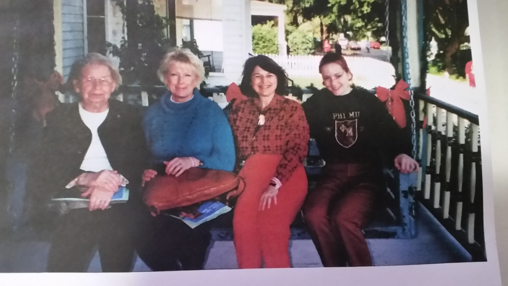 Hildegard joined daughter Gwen, Barbara and another Phi Mu at the 2002 Holiday Tour of Homes in Sanford.