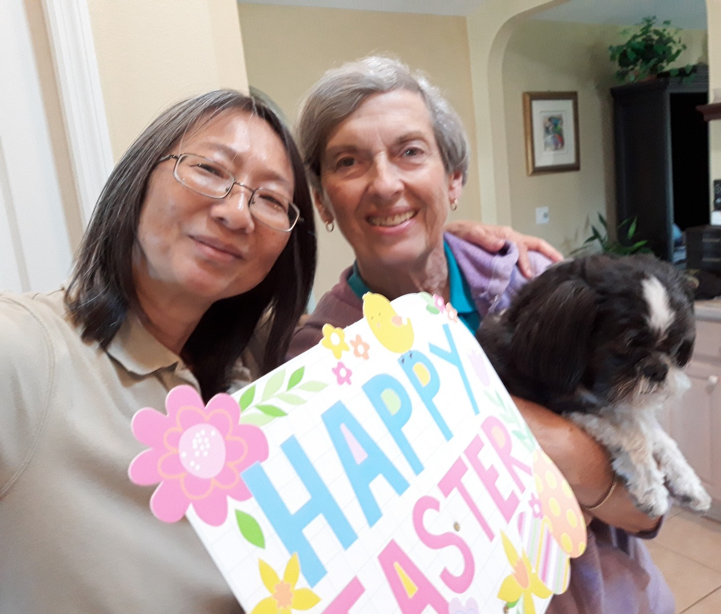 Happy Easter Mum. Pat and Stitches brought over a big Easter Basket with lots of chocolate. Now you can eat whatever you want. Love always. xoxo