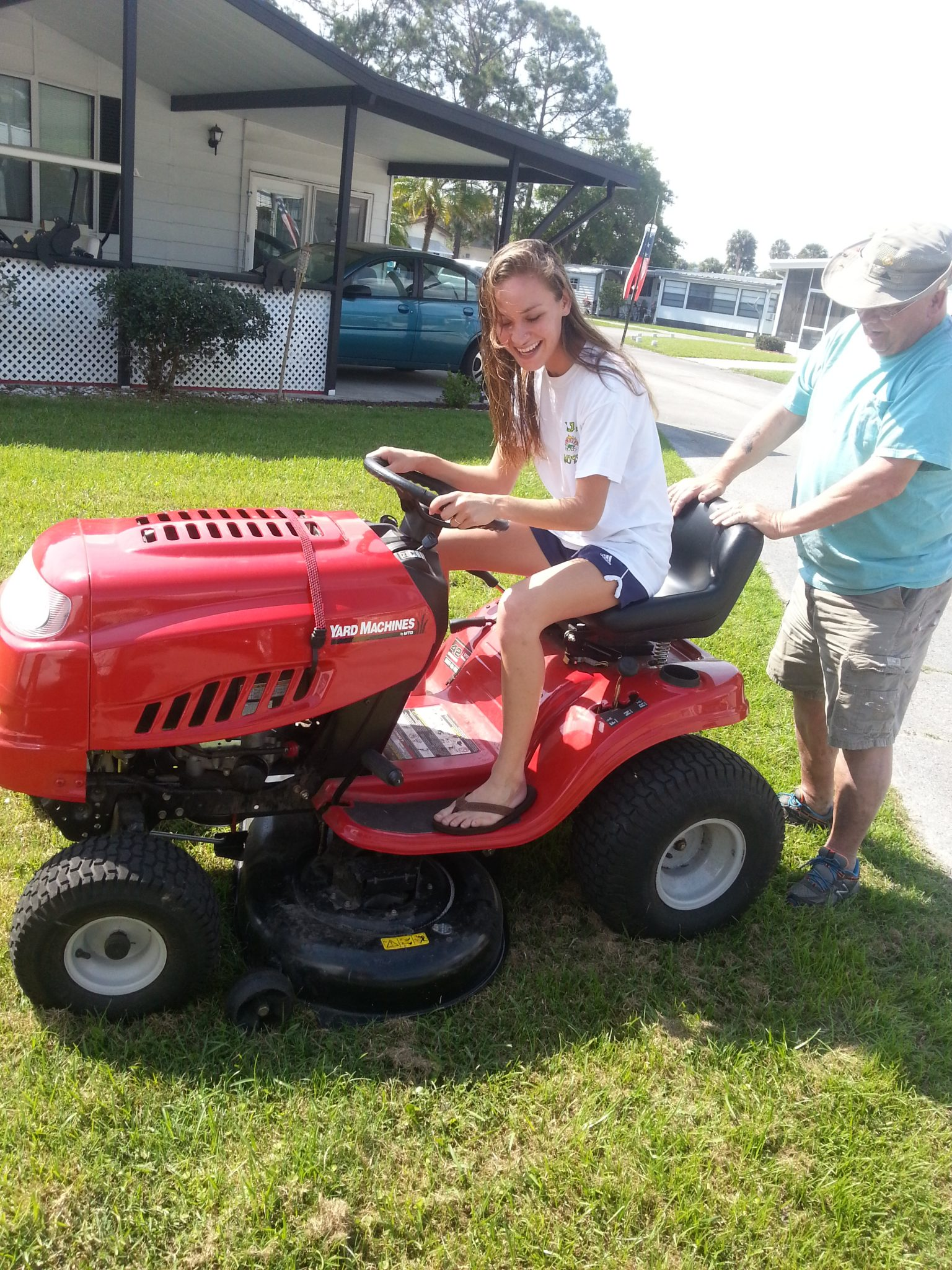 What a great day, Brittany was either too short or not heavy enough to keep the seat down to keep the mower going.