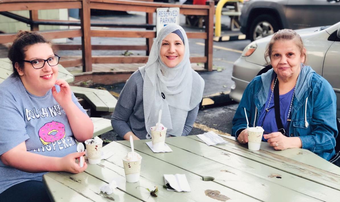 Destiny, Lisa & Mom enjoying some yummy ice cream  at Country Whip in Acushnet