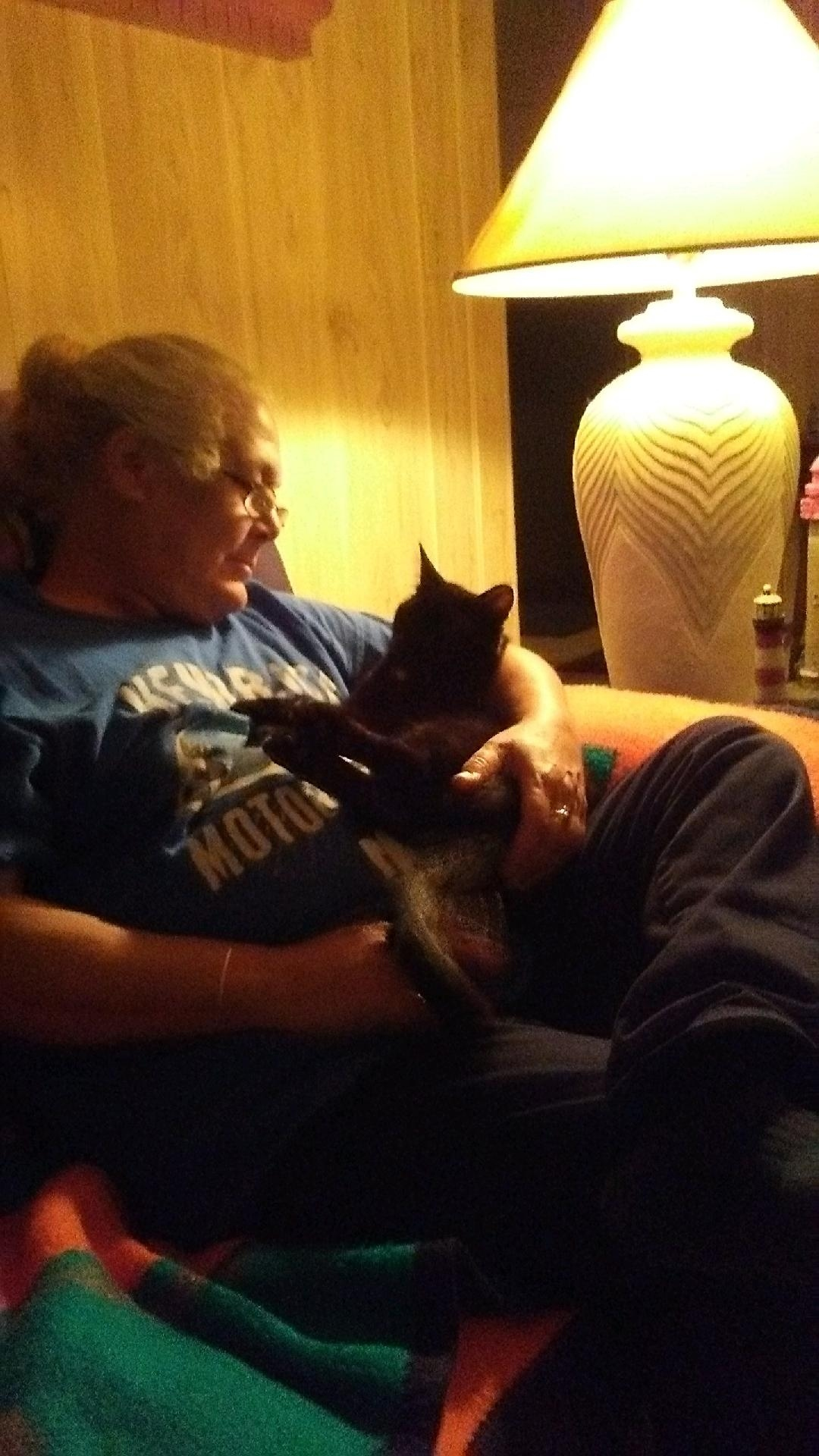 Vicky and Buddy aka Bubba<br /> her much loved cat. 2019