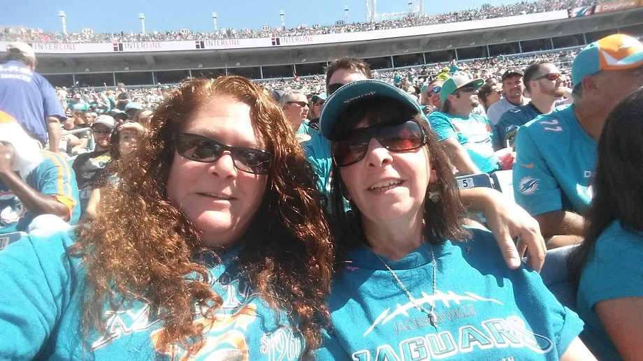 Vicky and I at a Jaguar/Dolphin football game.