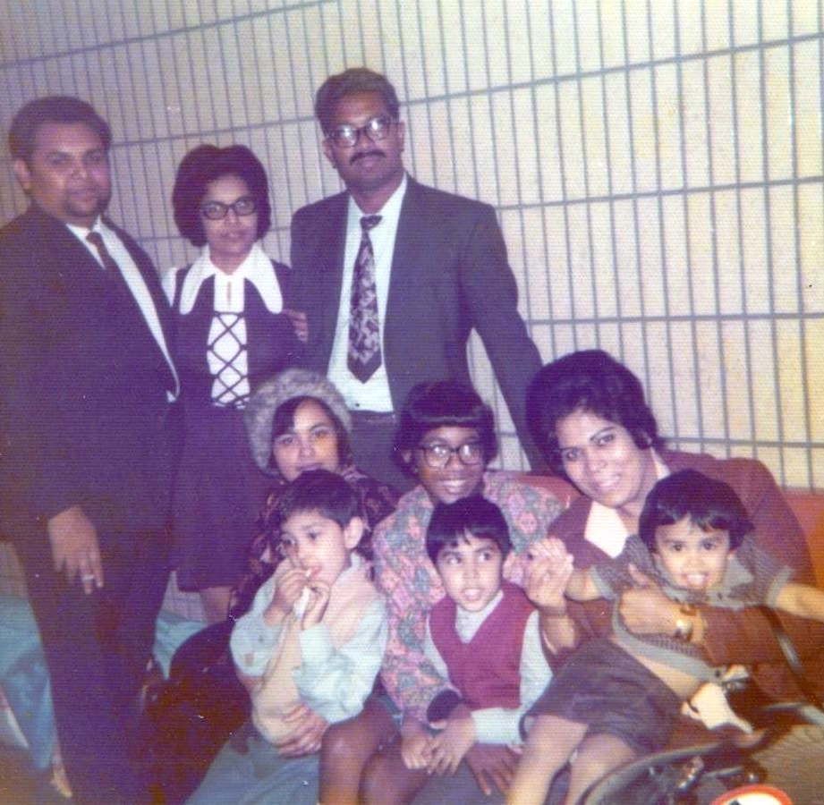 with family in the UK, 1973