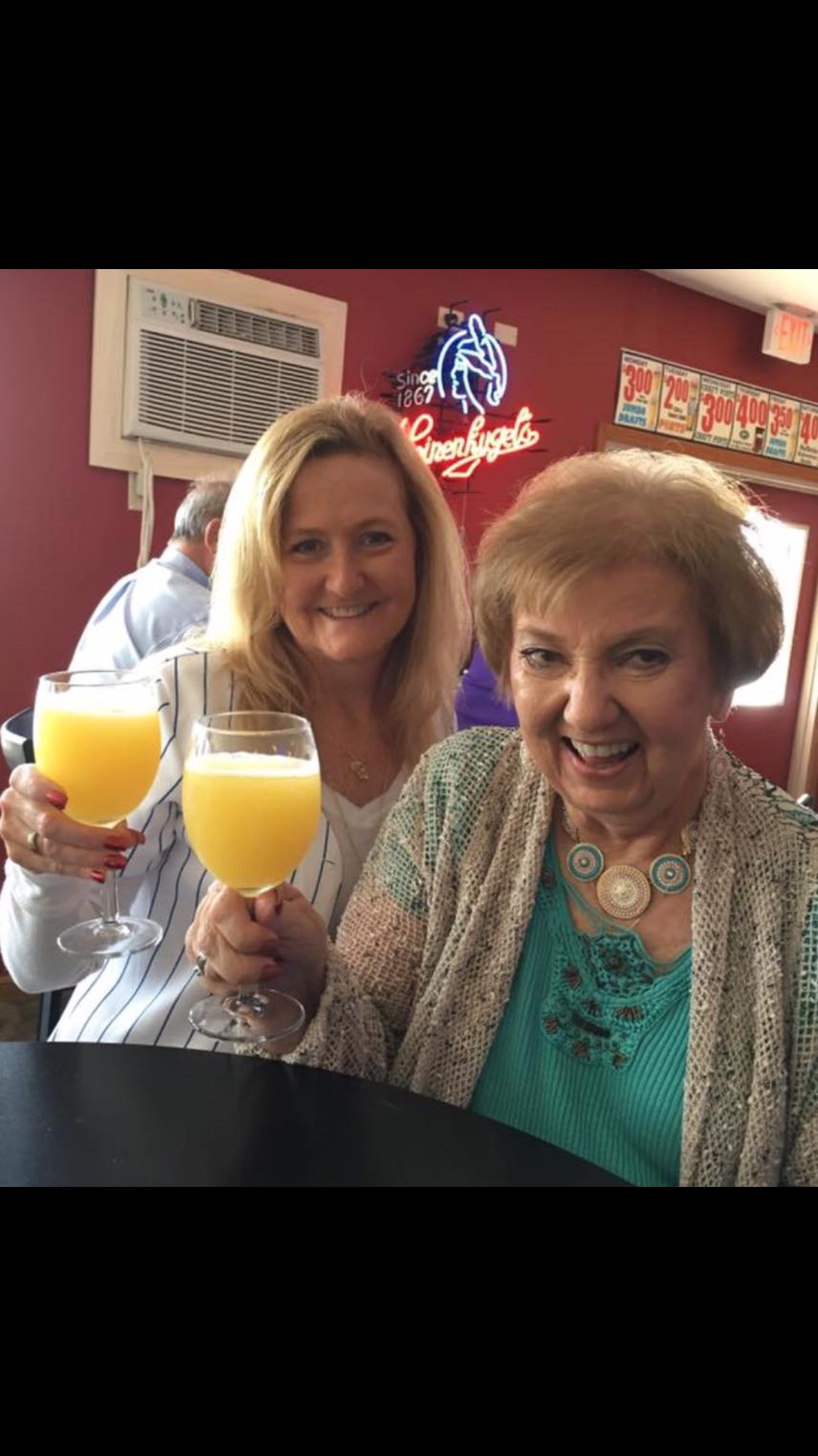 Enjoying mimosas during our trip to Chicago 2016. <br /> Love you Sandy!!