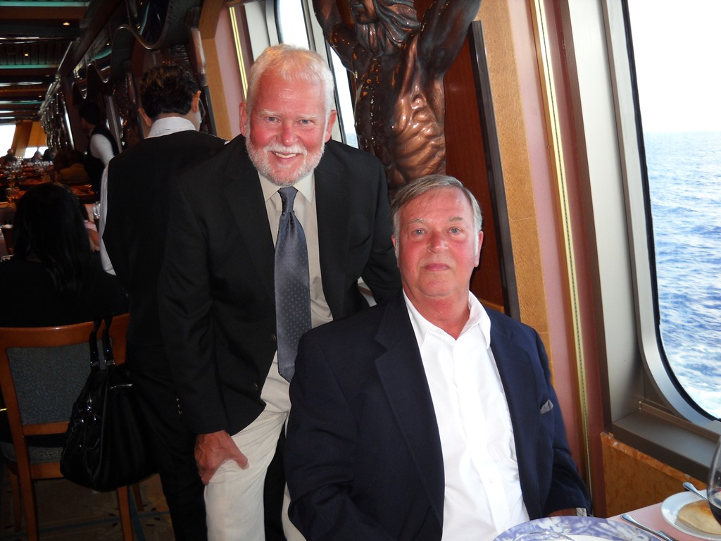 John & I at the Captains dinner aboard ship in the Bahama's.