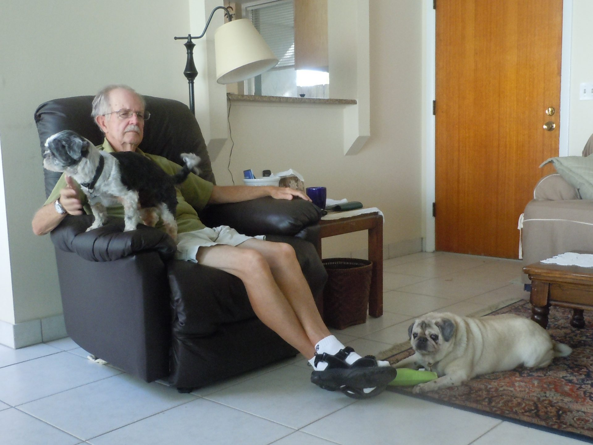 Uncle Dennis with doggies.