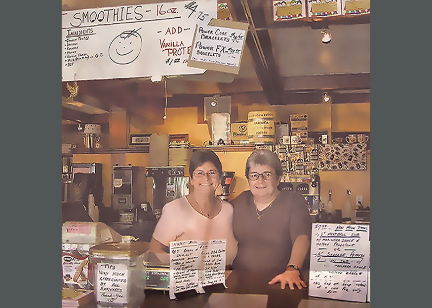 Lorraine and Cindy at their coffeeshop