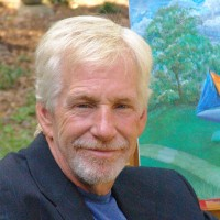 This picture was taken at my house in Archdale, NC about four years ago. Alan and I were painting together. He was wanting to show a sculpture idea he had come up with of a boat that would pivot around on a base as the wind blows. Alan was one of my dearest friends.<br />  -Oenita