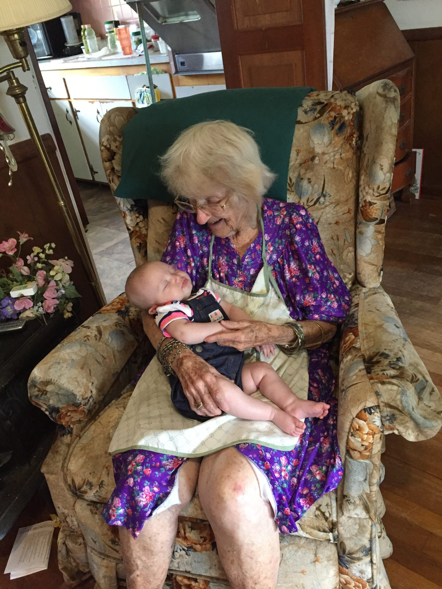 Mrs Graham (with our 1st granddaughter) our great faithful friend. We are going to miss you so much. I know your husband and babies were so excited when you arrived in heaven. We love you so much!<br /> The Wootens
