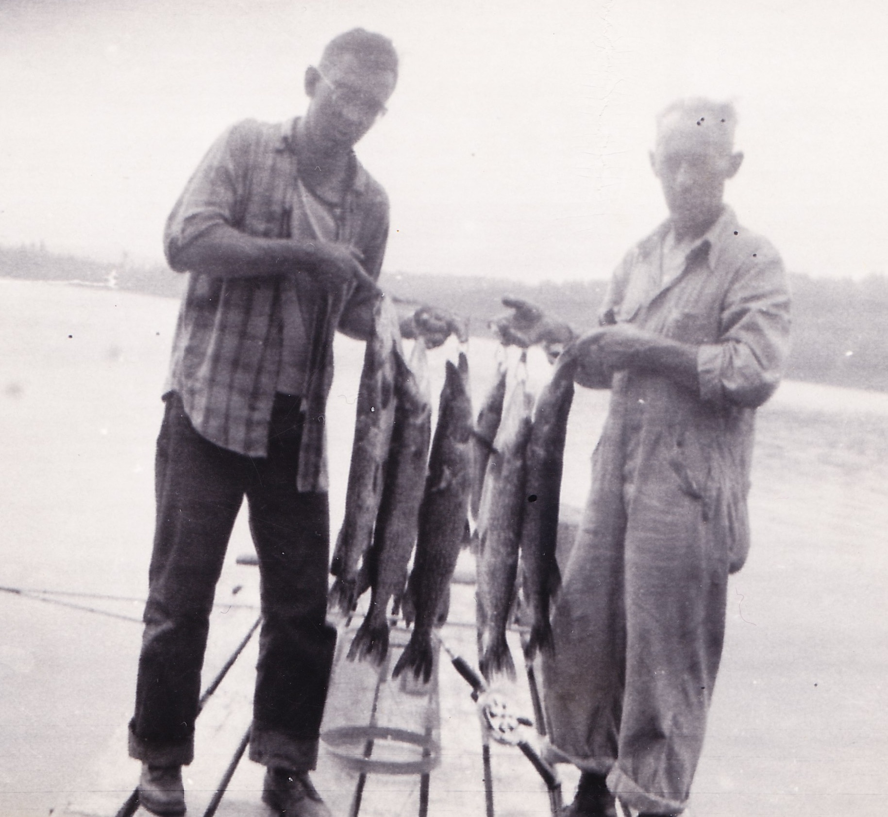 Dick and his father with fish on the farm in Vermon, late 1940s.  Dick loved to look at his old family pictures, and he could tell you the story of every fish in each photo: where, when and how he caught it, with what bait...