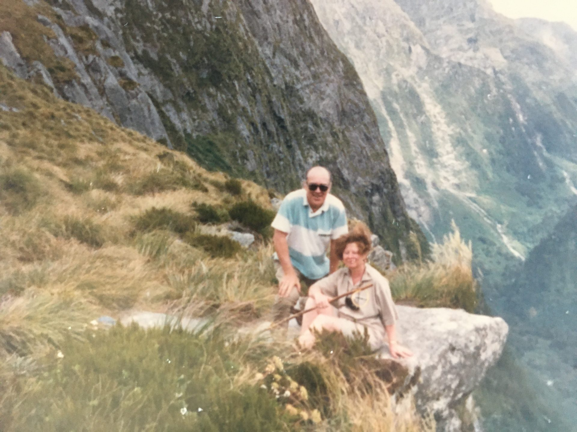 Dick and Thelma hiking in the mountains on their trip to China and Mongolia, July 1990