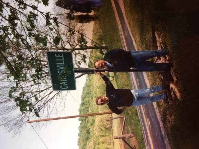 Bob and Sam coming into Carrsville, Kentucky for Bob's High School Reunion at Salem High School 1995