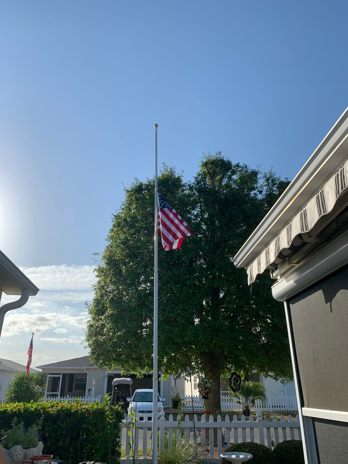 Pops flag at half-staff in honor of our service hero.