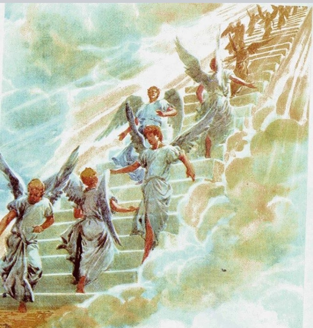 Jacobs Ladder, This illustration shows spirit can go up the ladder and back down to visit us when they want.
