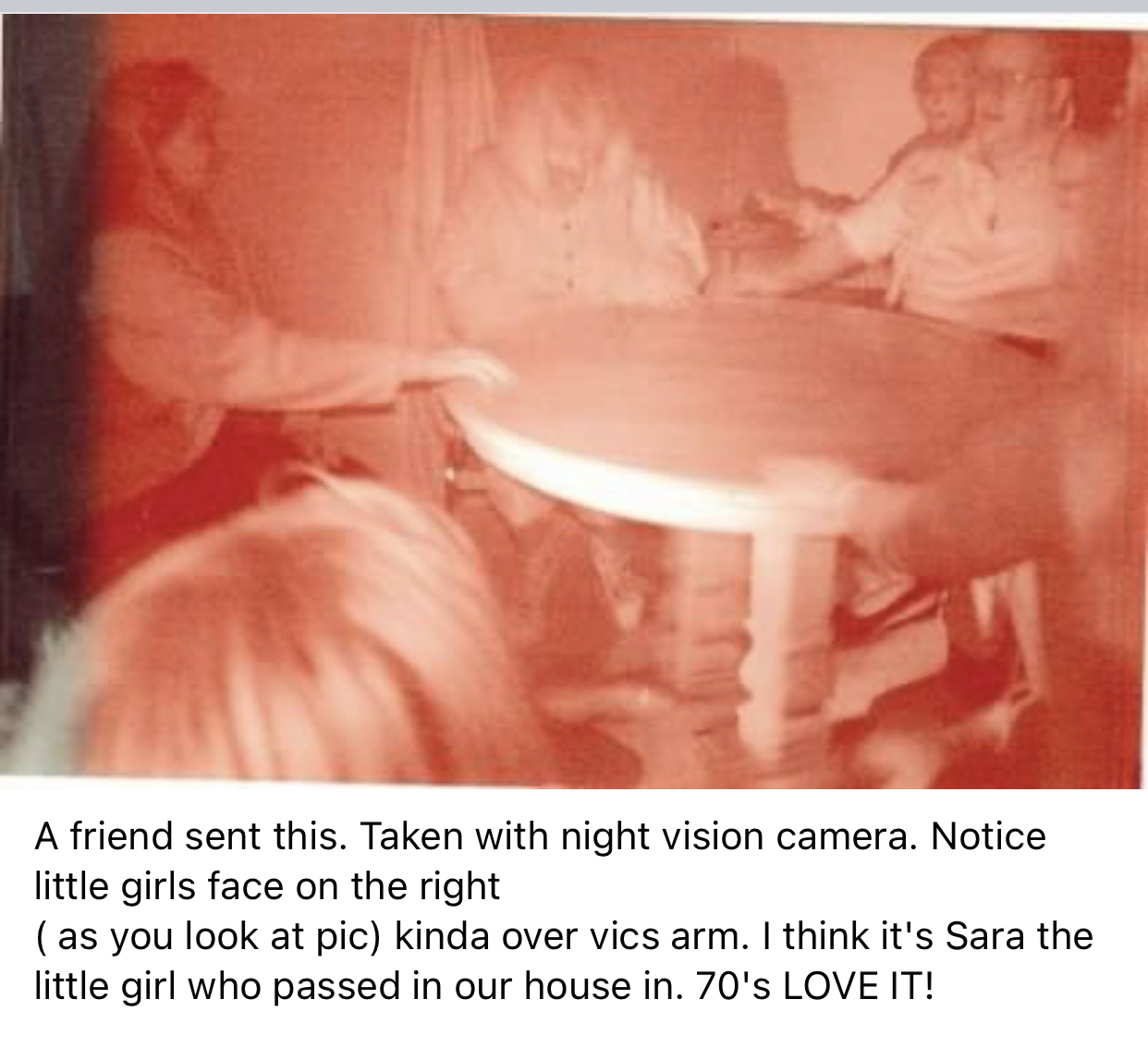 We were sure this was a picture of our little girl Sarah who passed at the Cassadaga cottage in the '70s. Several of the mediums knew the family. Sarah's grandma,  mom and Sarah lived there for many, many years.  She came to visit us often ♥️